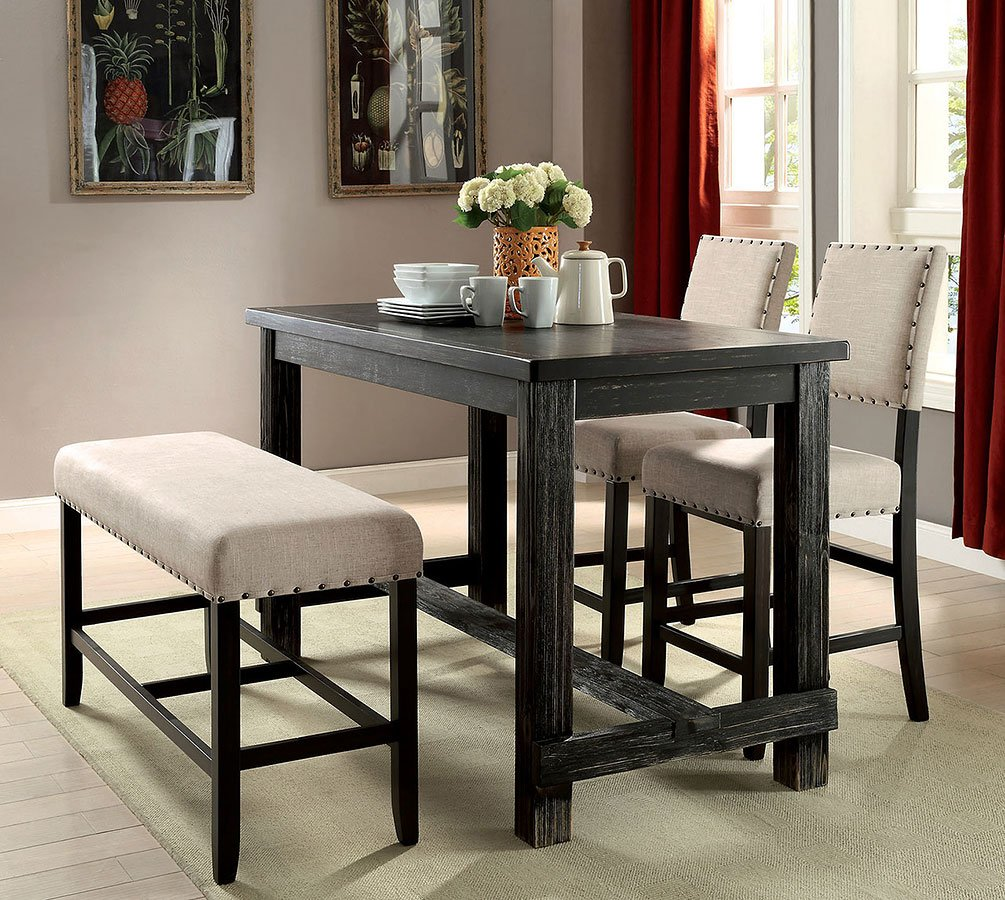 Sania II Counter Height Dining Room Set w/ Bench