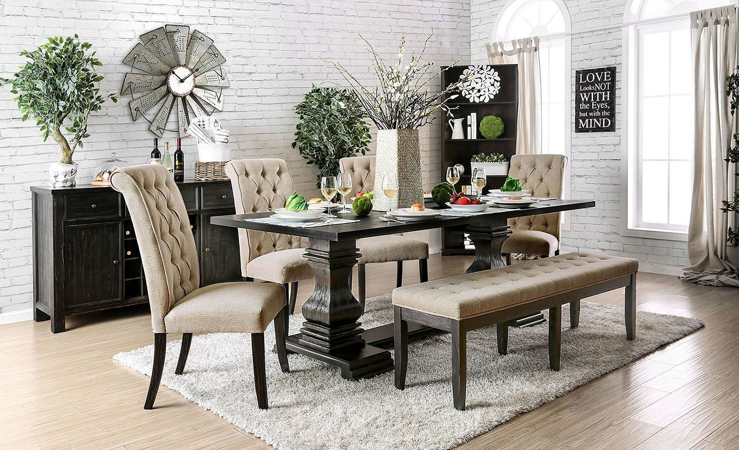 Nerissa Dining Room Set W Beige Chairs And Bench By Furniture Of America Furniturepick