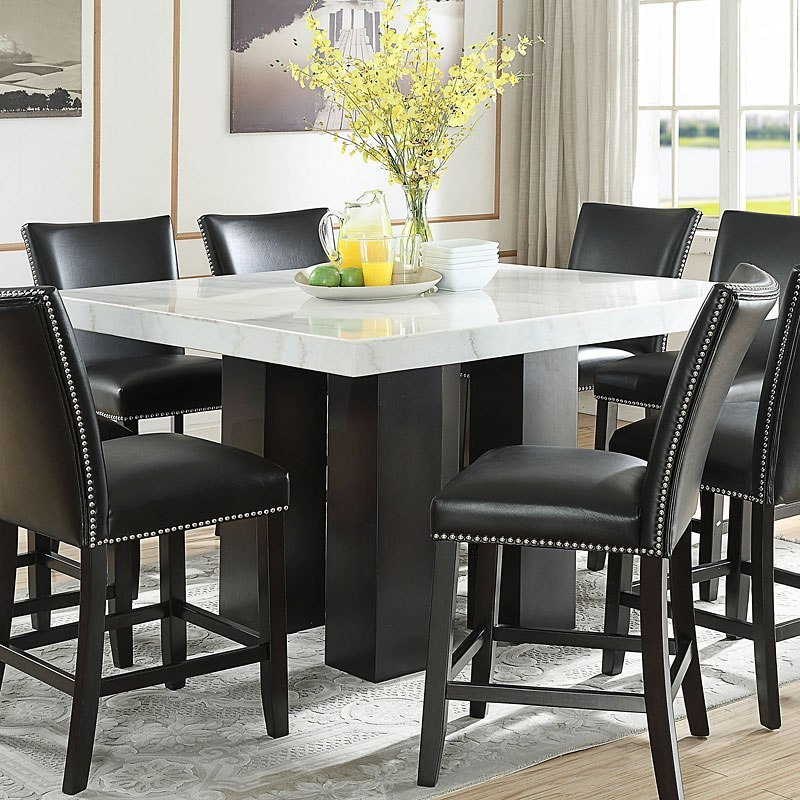 Camila Square Counter Height Dining Set W Black Chairs By Steve Silver Furniture Furniturepick