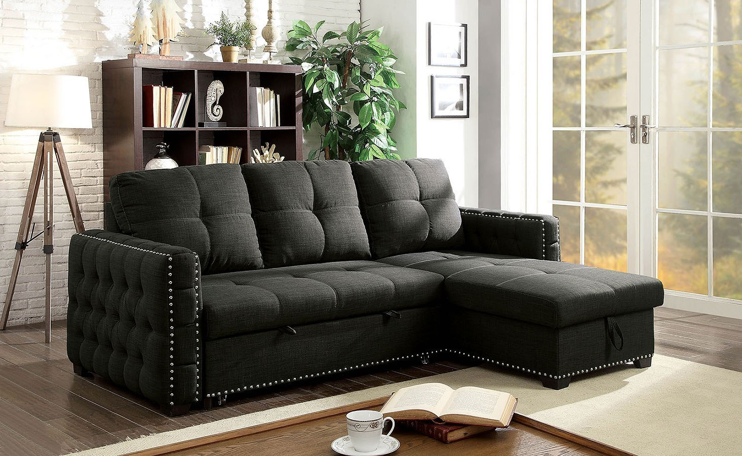 Demi Sectional W Pull Out Sleeper By Furniture Of America Furniturepick