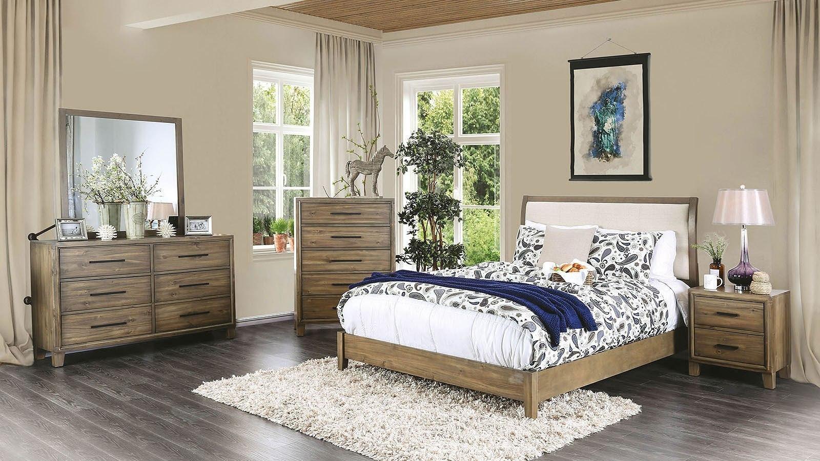 Enrico I Platform Bedroom Set Light Oak By Furniture Of America Furniturepick
