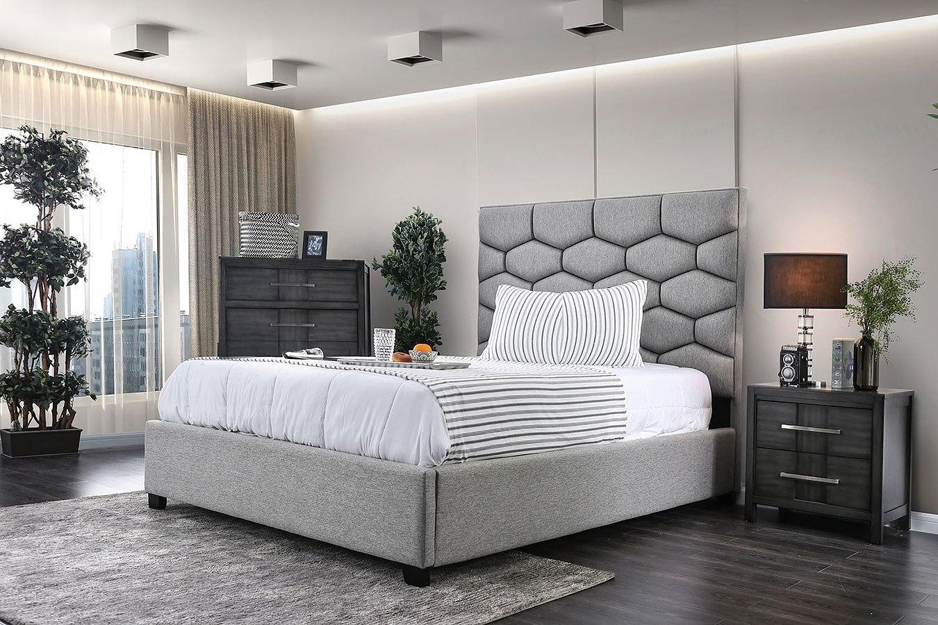 Celestia Upholstered Bedroom Set By Furniture Of America Furniturepick