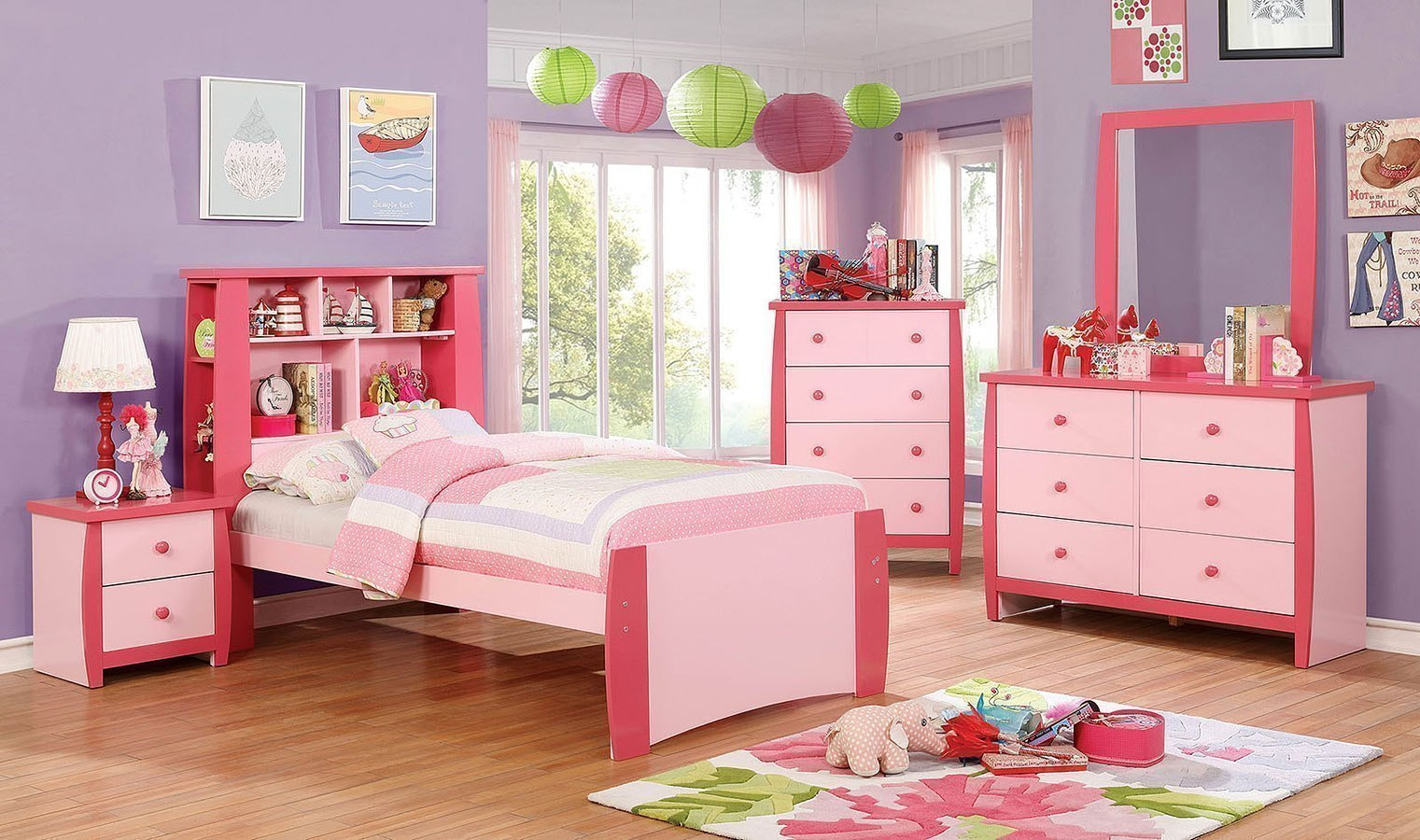 Marlee Youth Bookcase Bedroom Set Pink By Furniture Of America Furniturepick