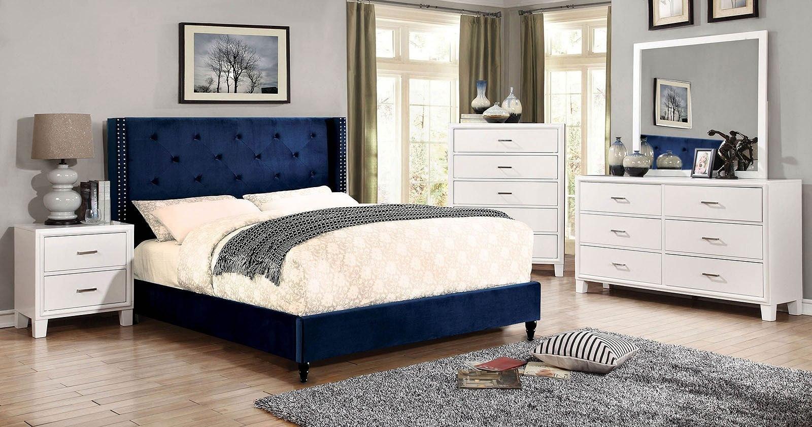 Anabelle Navy Upholstered Bedroom Set By Furniture Of America Furniturepick