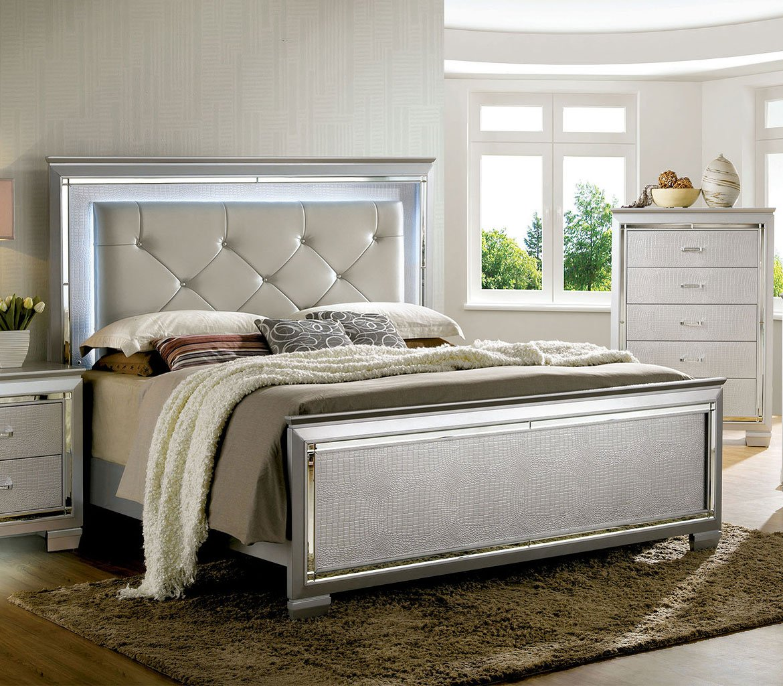 Bellanova Panel Bedroom Set Silver By Furniture Of America Furniturepick