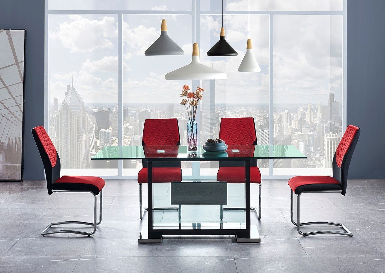 D1182 Dining Room Set W Black And Red Chairs By Global Furniture Furniturepick