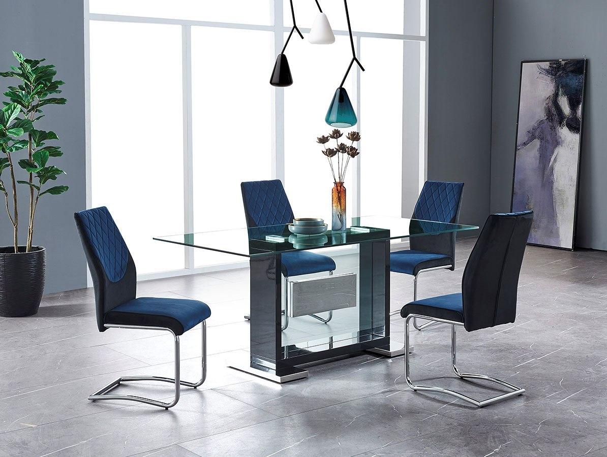 D1182 Dining Room Set W Black And Blue Chairs By Global Furniture Furniturepick