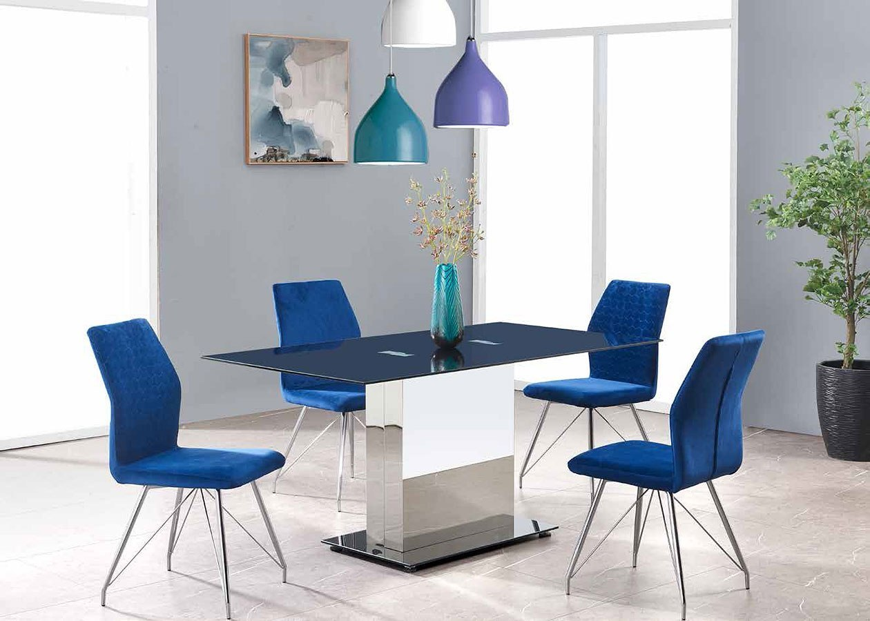 Aria Industrial Dining Table Set With 6 Blue Chairs