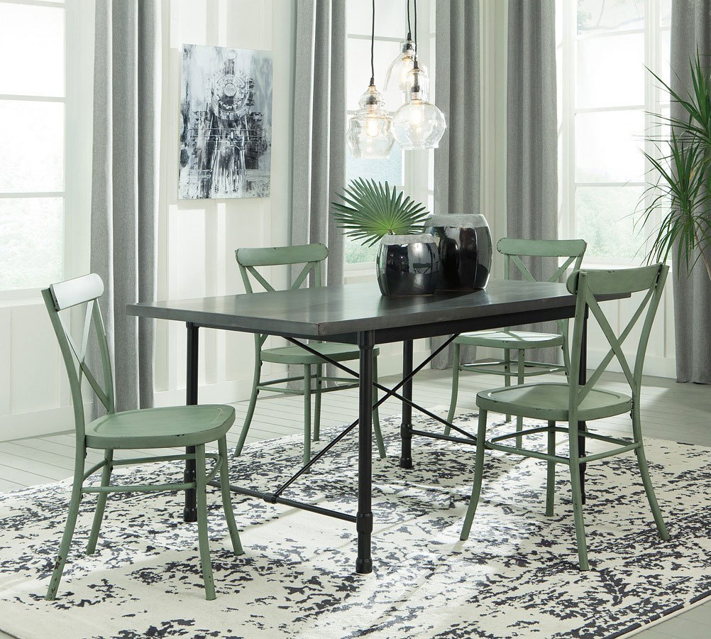 Minnona Rectangular Dining Room Set W Light Green Chairs By Signature Design By Ashley Furniturepick