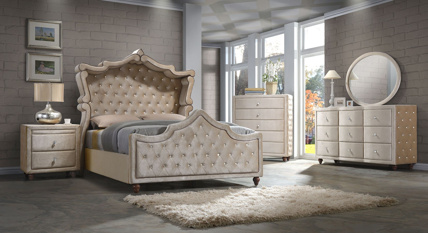 Diamond Velvet Canopy Upholstered Bedroom Set Golden Beige By Meridian Furniture Furniturepick