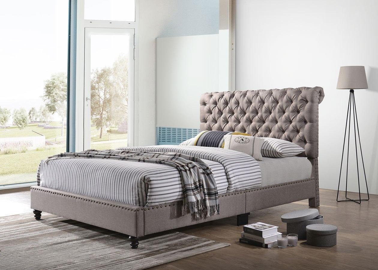 Julie Upholstered Bed Tan By Glory Furniture Furniturepick
