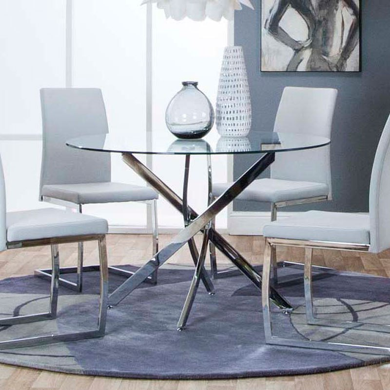 Bravo Round Chrome Dining Table By Cramco Furniturepick