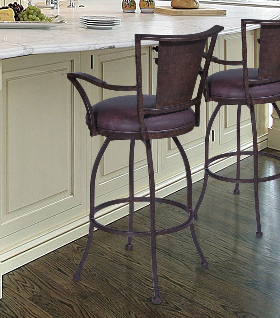 Dynasty Bar Height Arm Barstool Auburn Bay By Armen Living Furniturepick