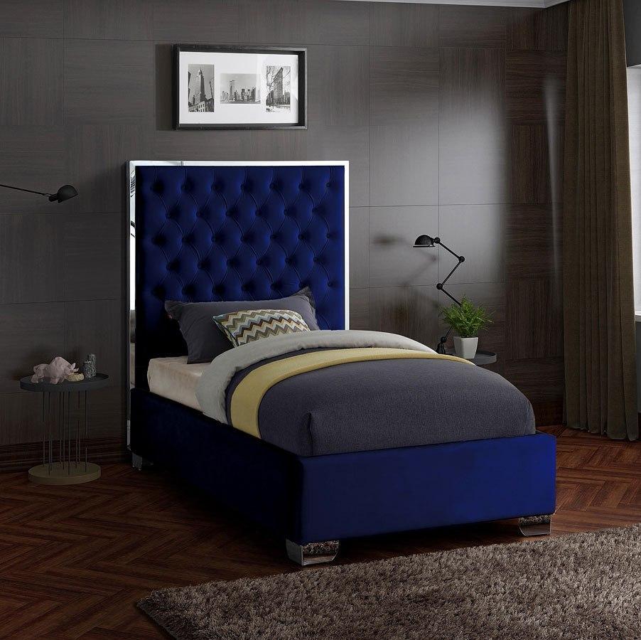Lexi Youth Upholstered Platform Bed Navy By Meridian Furniture Furniturepick