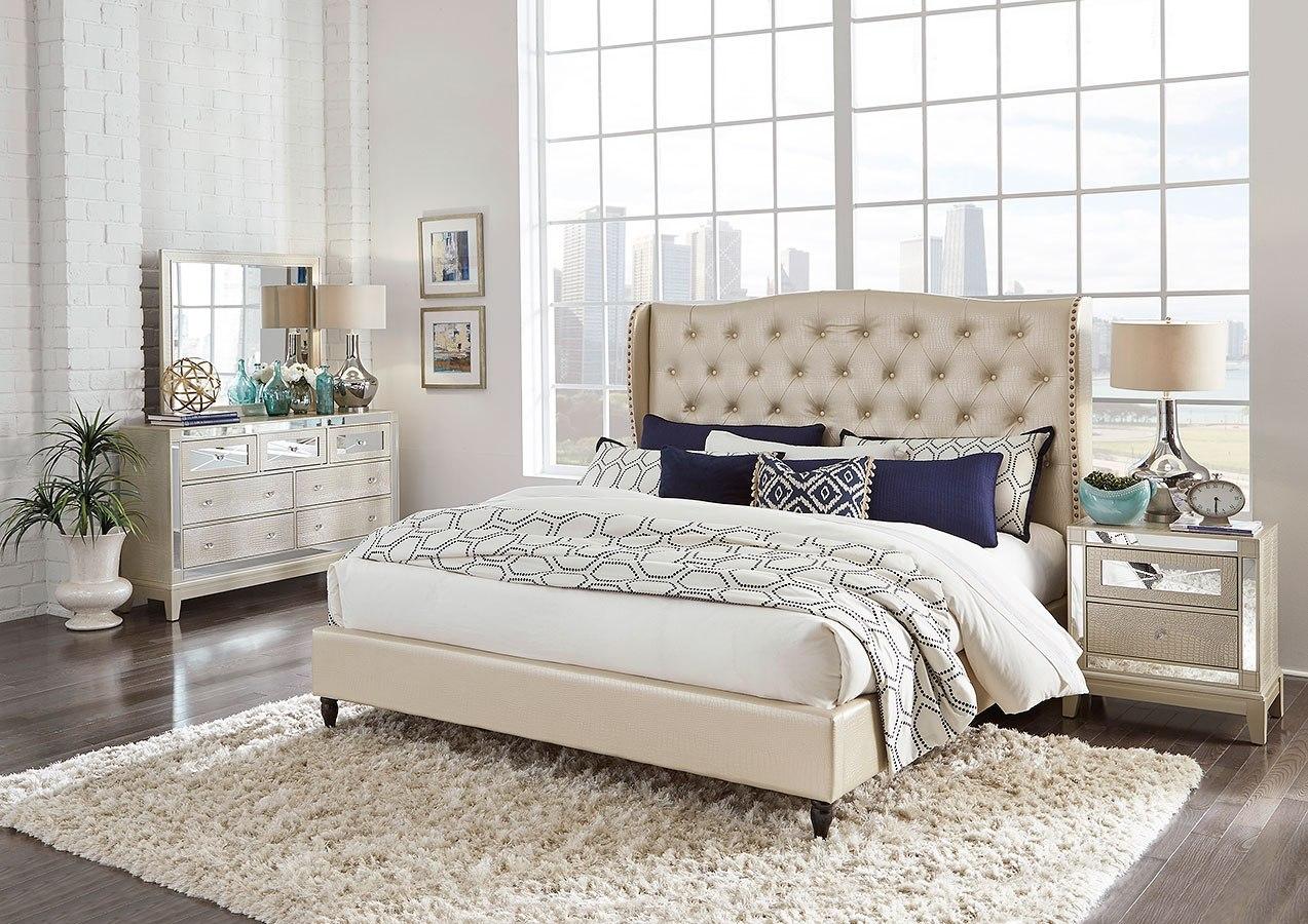 Mirror Upholstered Bedroom Set Champagne By Global Furniture Furniturepick