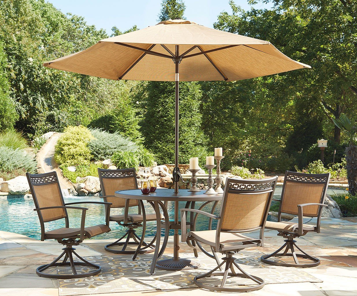 Carmadelia Round Outdoor Dining Set W Swivel Chairs And Umbrella By Signature Design By Ashley Furniturepick