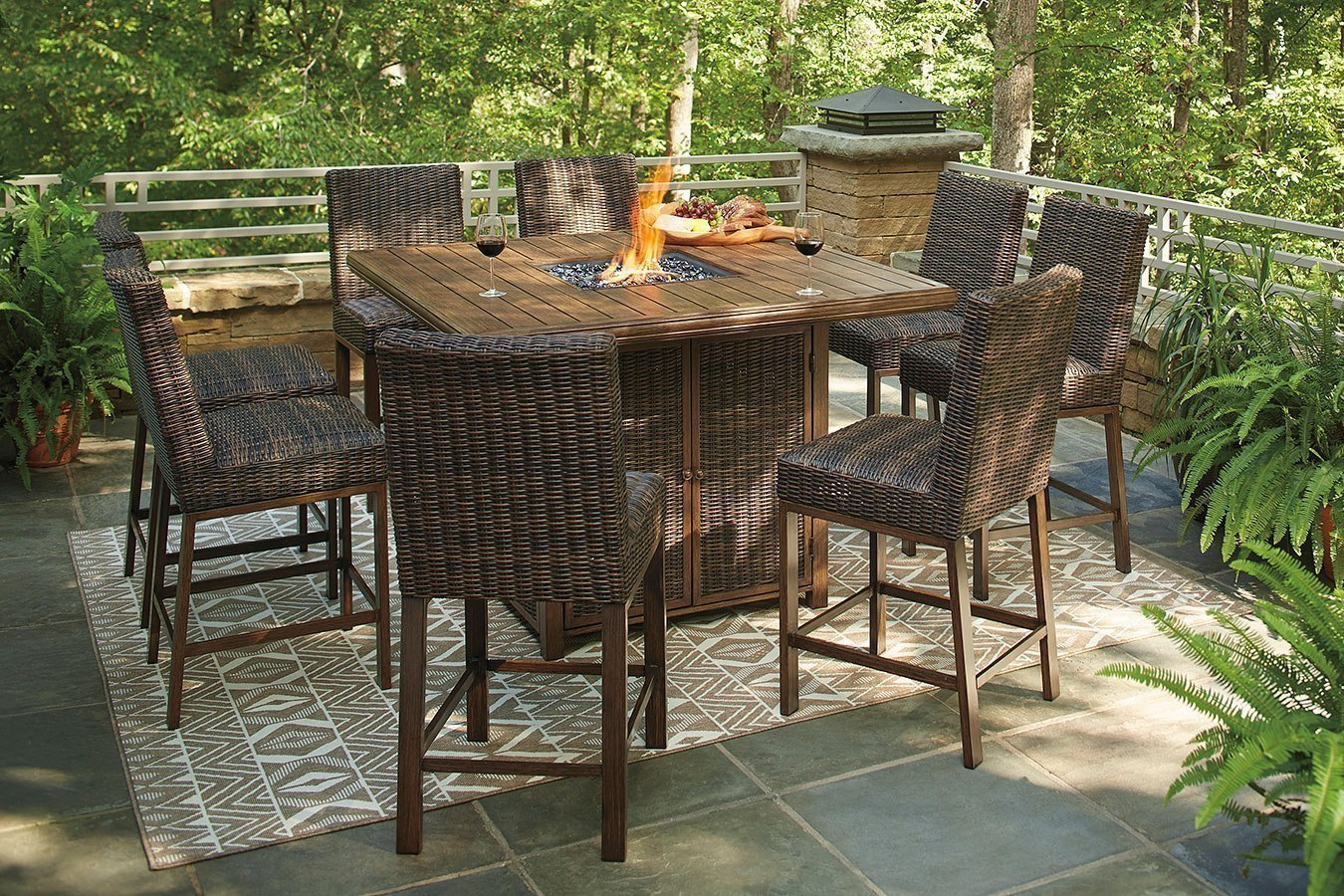 Paradise Trail Outdoor Fire Pit Bar Table Set By Signature Design By Ashley Furniturepick