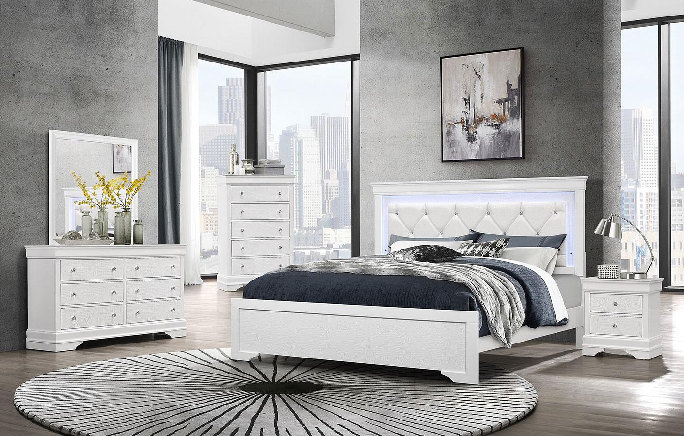 Pompei Panel Bedroom Set White By Global Furniture Furniturepick