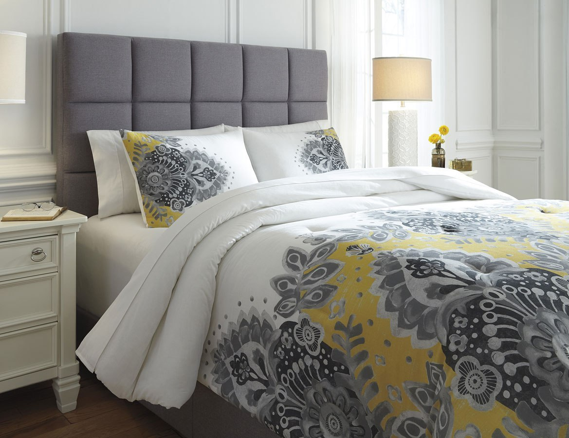 Maryland Gray And Yellow Comforter Set By Signature Design By Ashley Furniturepick