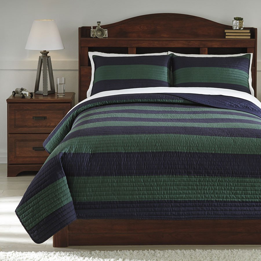 Reggie Blue and Green Youth Coverlet Set by Signature ...