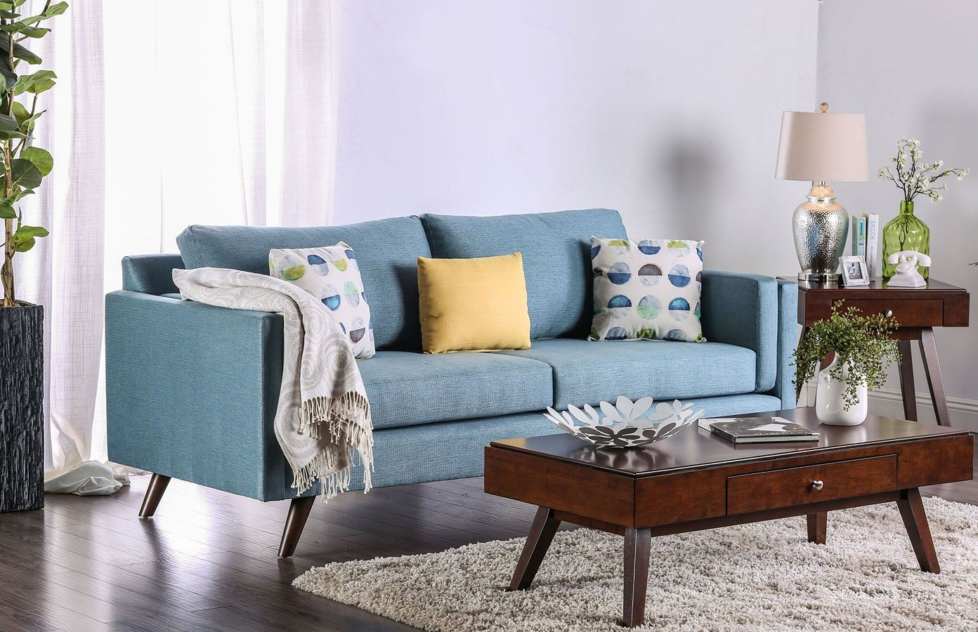 Genna Sky Blue Sofa By Furniture Of America Furniturepick