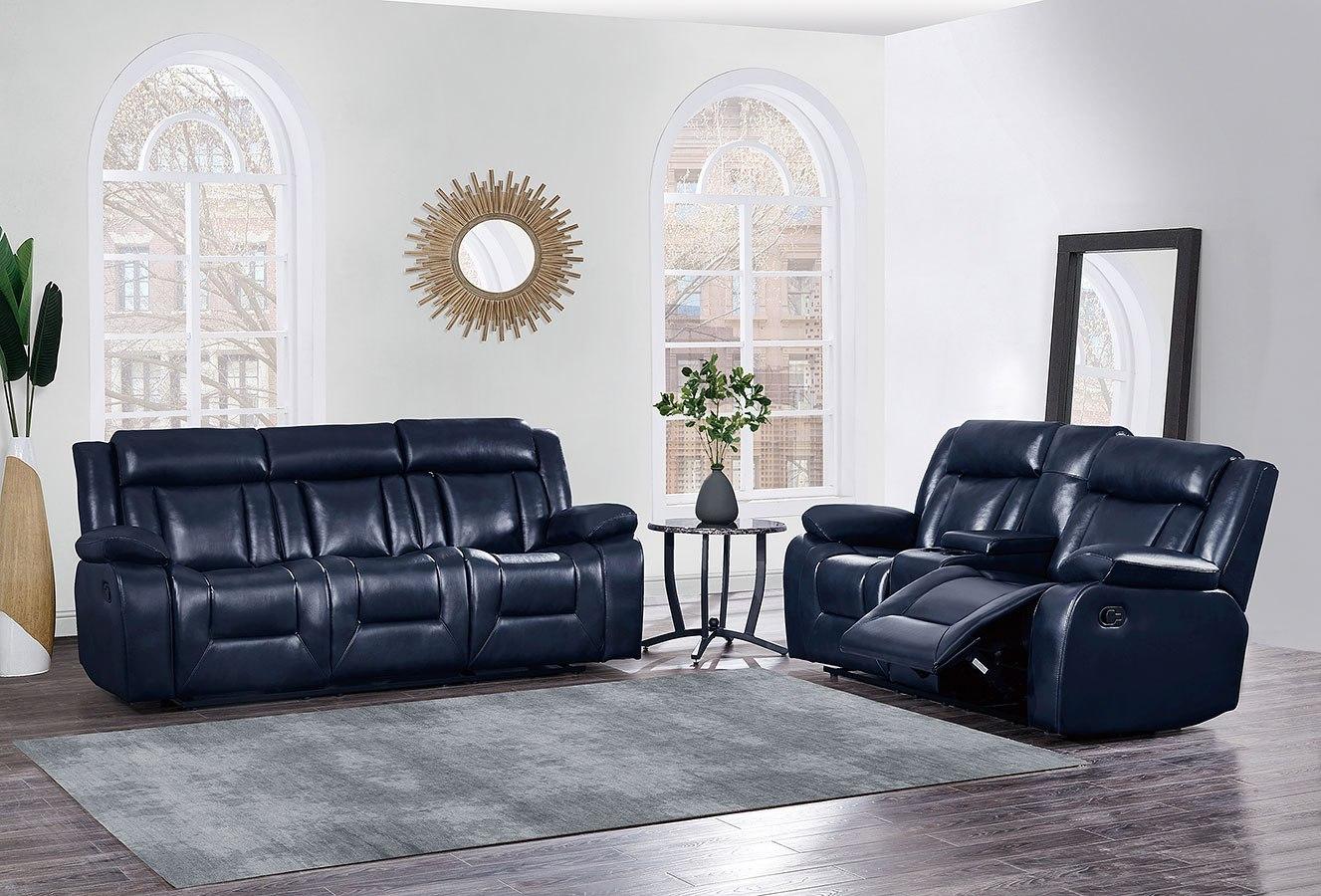 Image of: U8036 Reclining Living Room Set Blue By Global Furniture Furniturepick