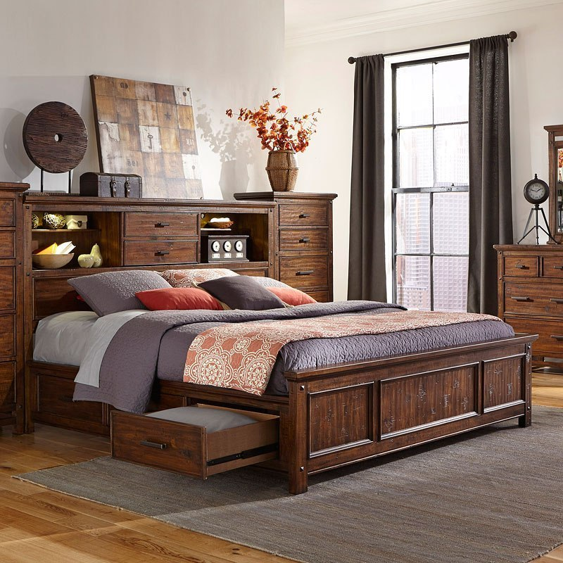 Wolf Creek Bookcase Bedroom Set W Two Side Storages By Intercon Furniture Furniturepick