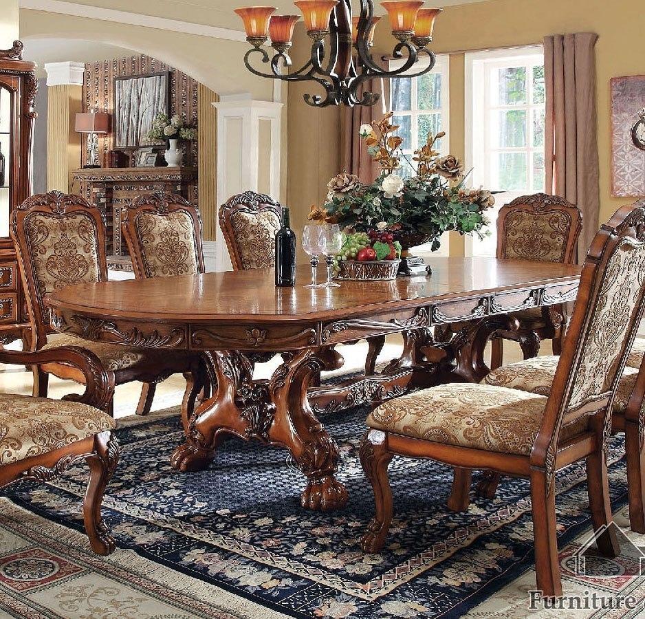 Medieve Dining Table Antique Oak Furniture Of America Furniturepick