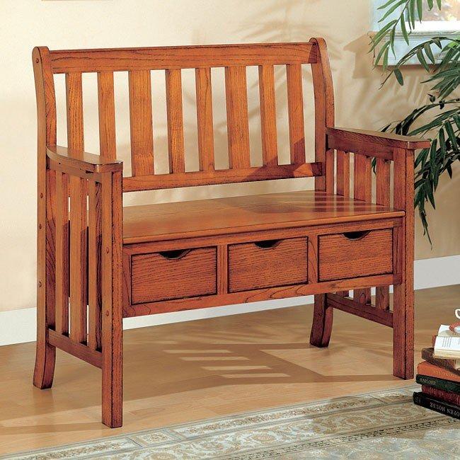Three Drawer Storage Bench Cherry Coaster Furniture Furniturepick