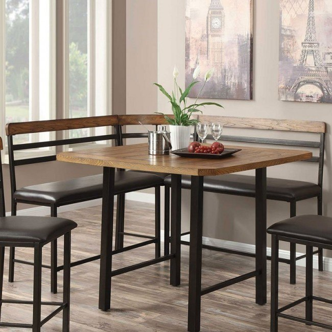 Sheldon Counter Height Corner Bench By Coaster Furniture Furniturepick