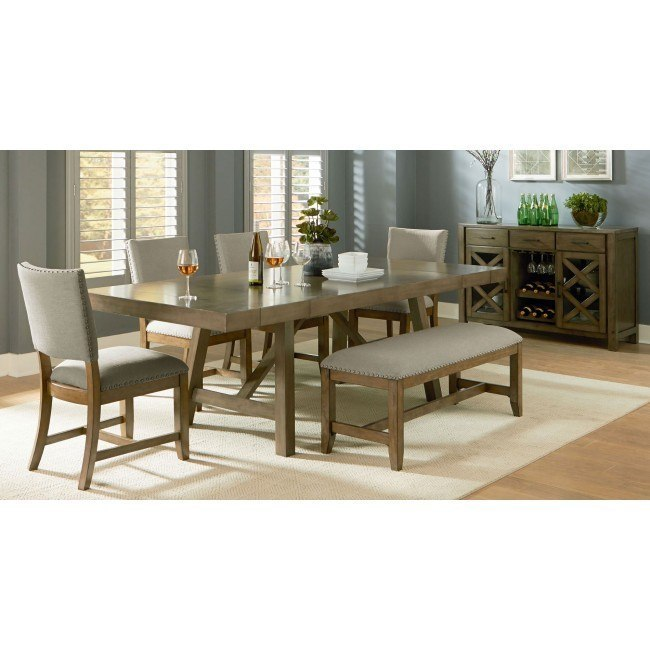 omaha dining room set w upholstered bench grey