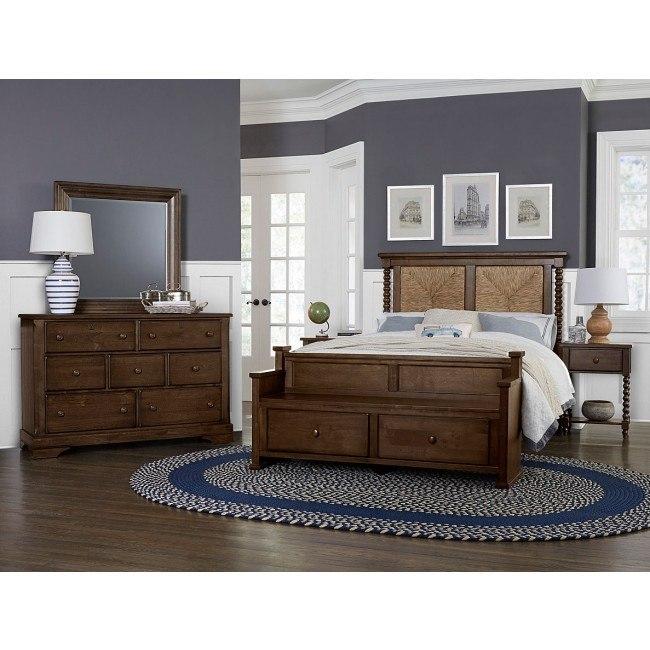 Scotsman Seagrass Bedroom Set W Elders Bench Molasses By Vaughan Bassett Furniturepick