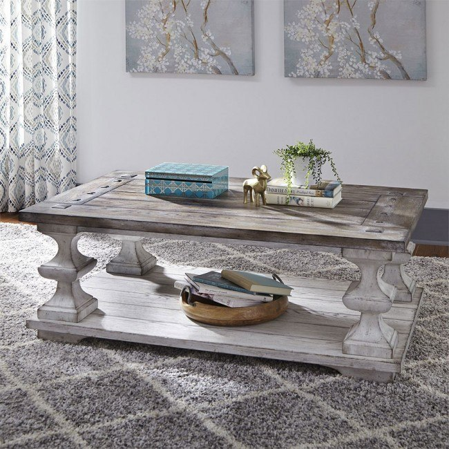 Sedona Cocktail Table Distressed White By Liberty Furniture Furniturepick