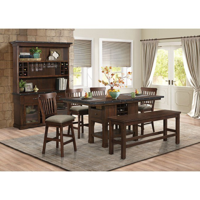 Schleiger Counter Height Dining Room Set W Swivel Chairs And Bench By Homelegance Furniturepick