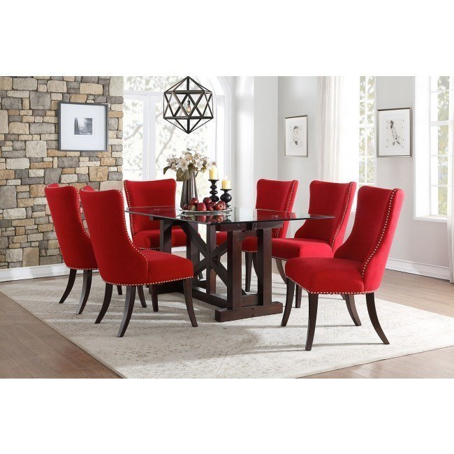 Salema Dining Room Set W Red Chairs By Homelegance Furniturepick