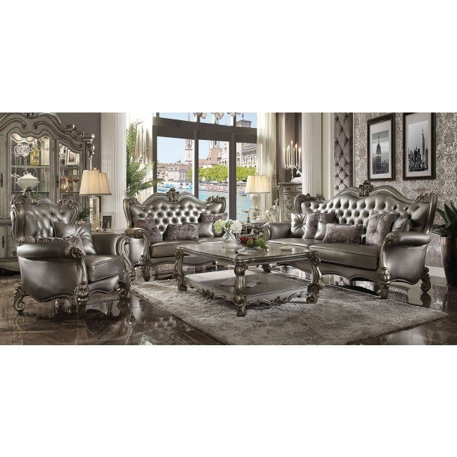 Versailles Living Room Set Silver Pu By Acme Furniture Furniturepick
