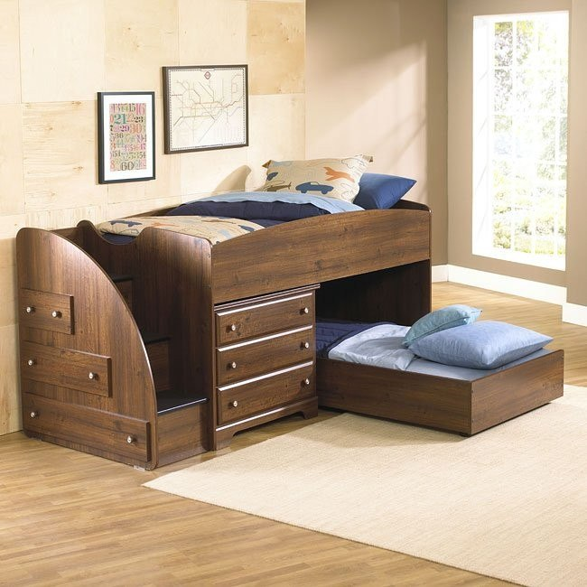 Parker Storage Loft Bed W Trundle And Left Stairs Standard Furniture Furniturepick