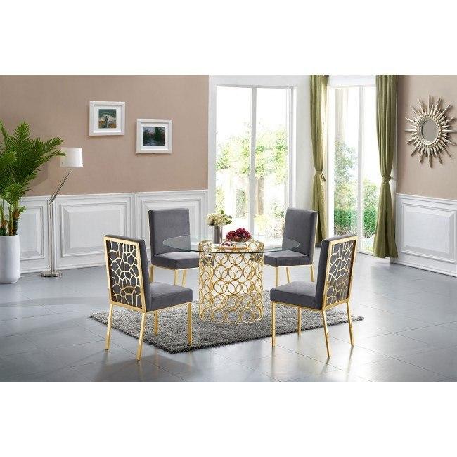 Opal Dining Room Set Grey Gold By Meridian Furniture Furniturepick