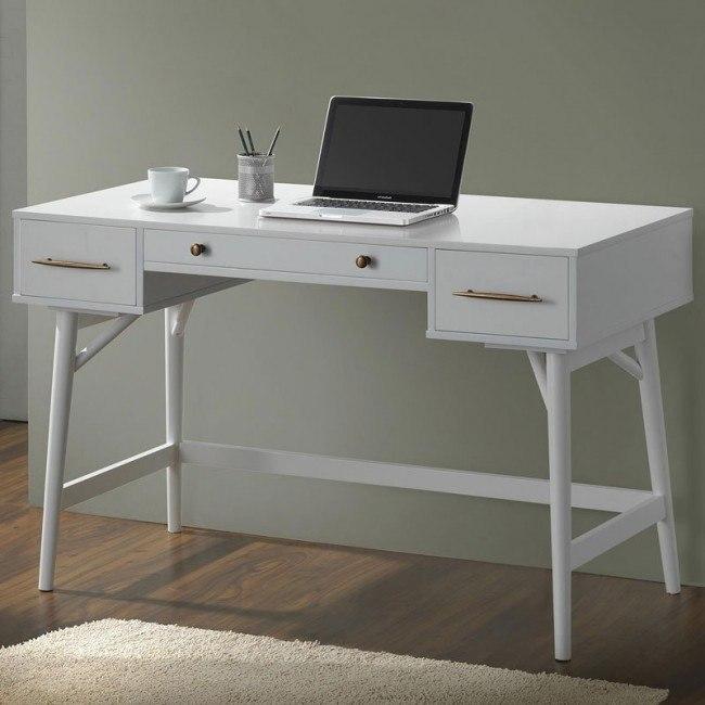 Writing Desk W Bronze Hardware White By Coaster Furniture Furniturepick