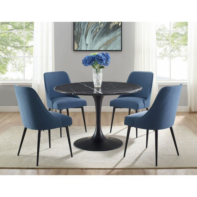 Colfax Dining Room Set W Navy Chairs Black By Steve Silver Furniture Furniturepick