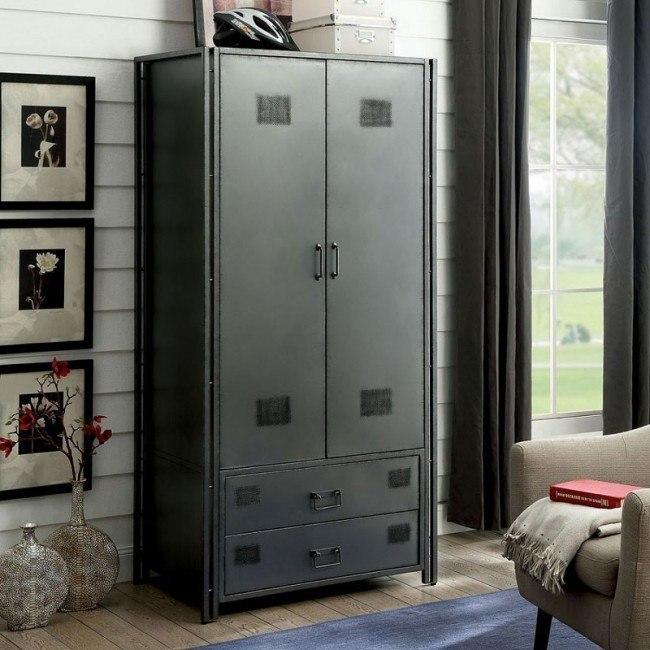 Ziva Industrial Metal Armoire By Furniture Of America Furniturepick