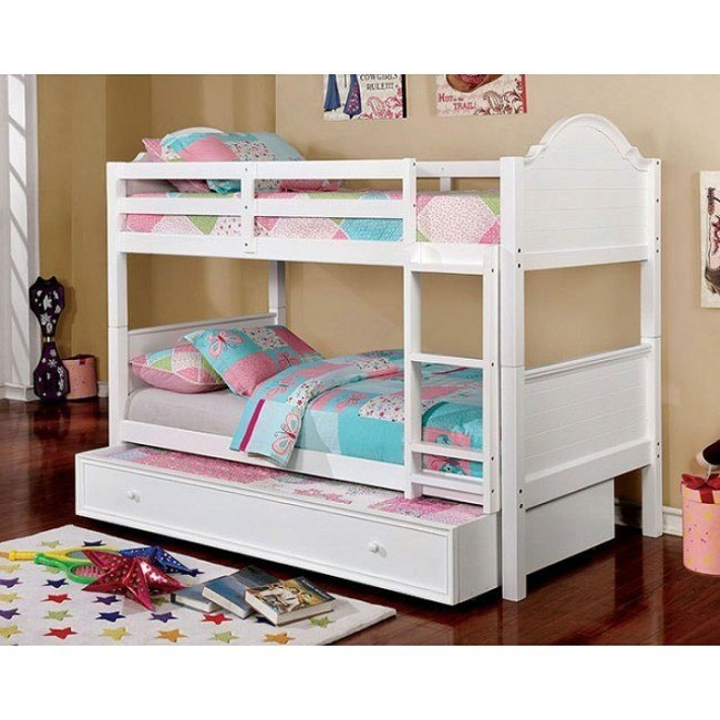 Denise Twin Over Twin Bunk Bed W Trundle White By Furniture Of America Furniturepick