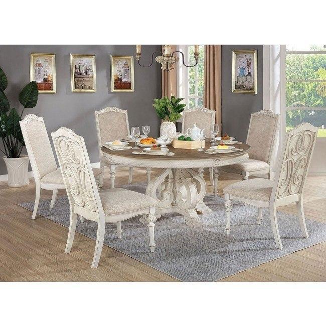 Arcadia Round Dining Room Set Antique White By Furniture Of America Furniturepick