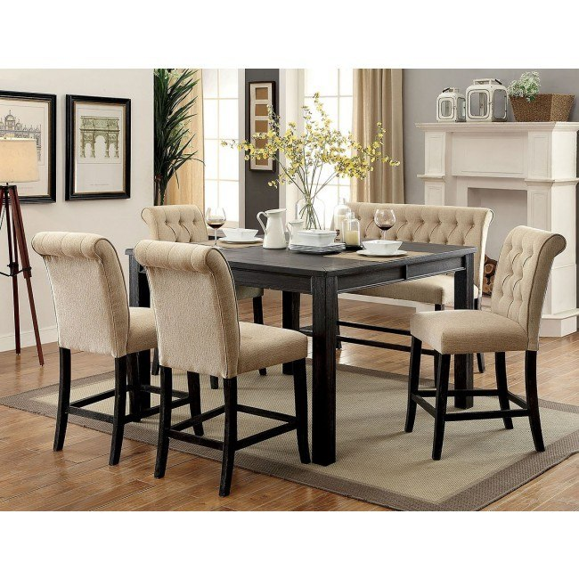 Sania Iii Counter Height Dining Set W Beige Chairs And Bench By Furniture Of America Furniturepick