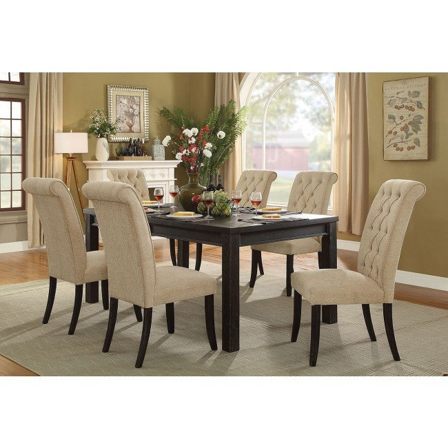 Sania Iii 72 Inch Dining Room Set W Beige Chairs By Furniture Of America Furniturepick
