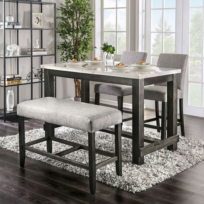 Brule Counter Height Dining Set W Light Gray Chairs By Furniture Of America Furniturepick