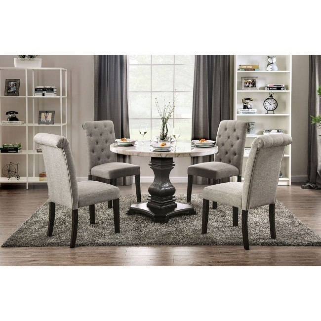 Elfredo Dining Room Set W Light Gray Chairs By Furniture Of America Furniturepick