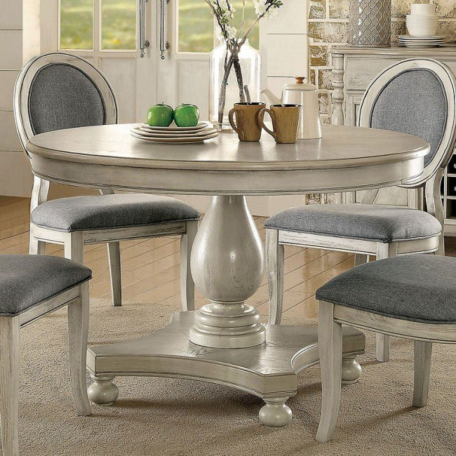 Siobhan Round Dining Table Antique White By Furniture Of America Furniturepick