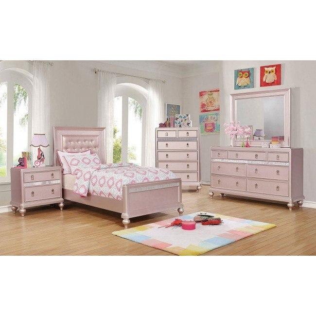 Avior Youth Panel Bedroom Set Rose Gold By Furniture Of America Furniturepick