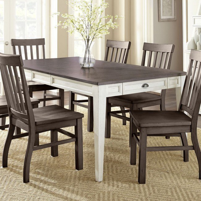 Cayla Rectangular Dining Table Dark Oak White By Steve Silver Furniture Furniturepick